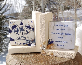 Limestone Bookends Seashell Beach Glass Pottery Mermaid Tears