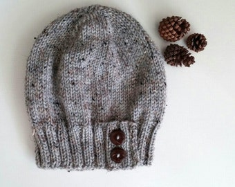7c30f73bbc8 Knit slouchy hat with button s - MARBLE GRAY (more colors available - made  to order).  35.00