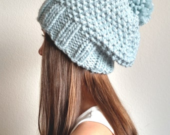 32c773e1772 The KODIAK - Knit slouchy hat with   without PomPom - More colors available