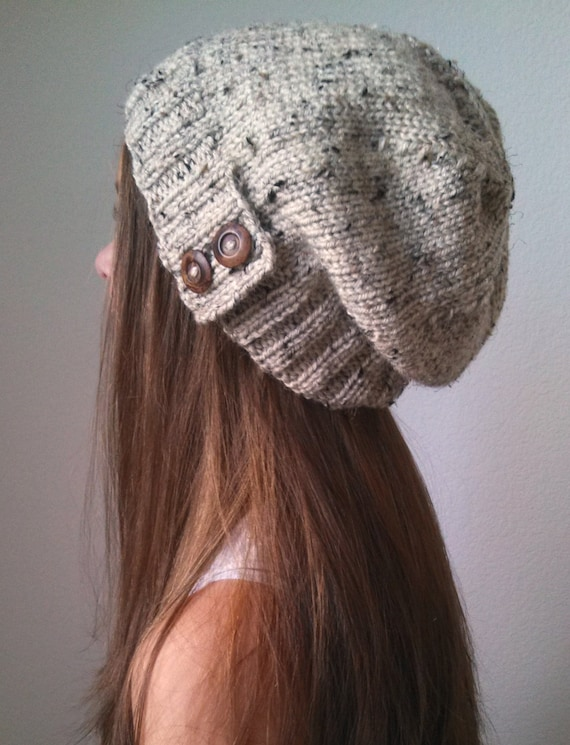 6d40235c266 Knit slouchy hat with button s - OATMEAL (more colors available - made to  order)