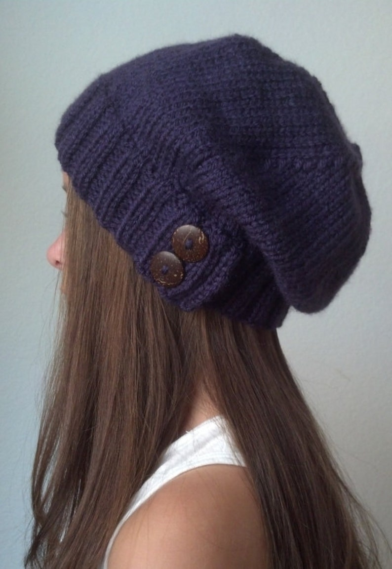 ae7fc6d8205 Knit slouchy hat with button s PURPLE more colors available