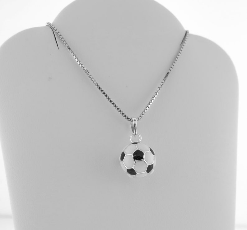 39ca96bde Soccer Ball Charm Necklace 3D Sterling Silver Soccer Ball | Etsy