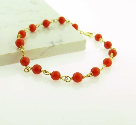 venta caliente en línea outlet en venta precio de fábrica Pulsera Bebe Rojo Coral en Oro 14Kt.   Etsy