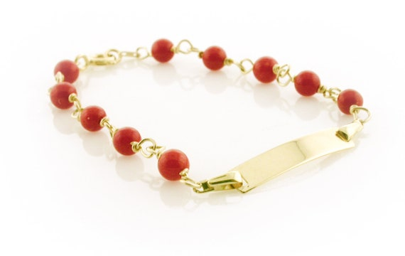 figa real coral hand on cord Child bracelet in red coral