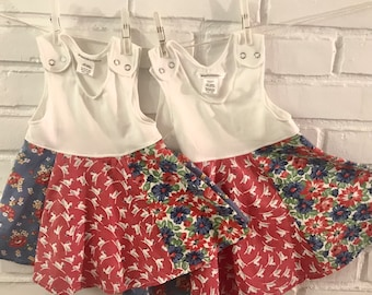 Baby Girl's Summer Dress, cotton jersey tank top with vintage cotton full circle skirt, red roses, blue flowers, duckies! Cool and comfy!