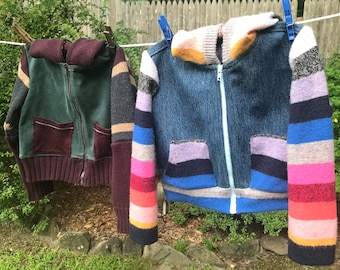 Toddler's Jean Jacket, recycling sweaters and jeans, green jeans! and stripes. Unisex, upcycled toddler wear