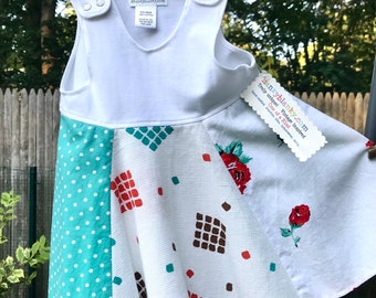 Baby Girl's Summer Dress, cotton jersey tank top with vintage cotton full circle skirt, aqua, orange, roses, polka dots! Cool and comfy!