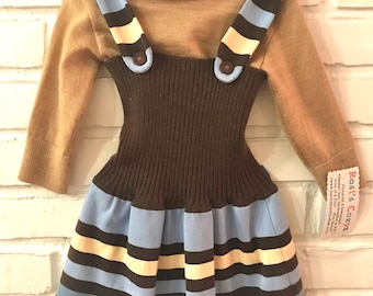 A blue/brown striped sweater jumper for your toddler girl, cut from recycled adult-sized sweaters, so unique, one of a kind.