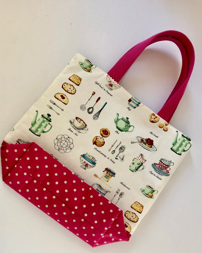 European food print tote bag with hot pink shoulder straps and polka dot square bottom-THE RUTHIE Roomy