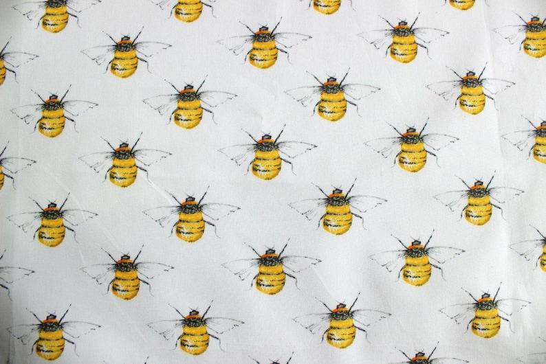 best website 452ba 39ac0 Bienen Stoff, weiße Hummel Baumwollstoff, weiße Bienen quilten  Baumwollstoff, Rose und Hubble Bienen Stoff Baumwolle Poplin, UK Nähladen