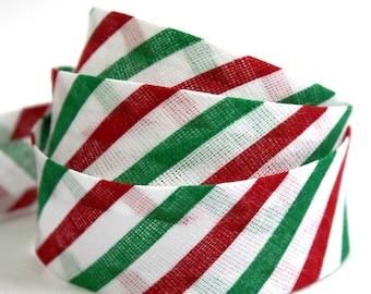 Christmas bias binding, holiday bias binding, candy cane stripes, candy stripes bias tape, festive bias binding, UK haberdashery supplies