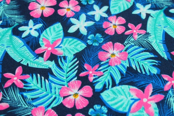 110cm Tropical Palm flower bird floral leaf leaves 100/% cotton fabric 44 inch