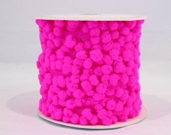 Bright pink pom pom trim - 5m, neon pink pom pom trim,