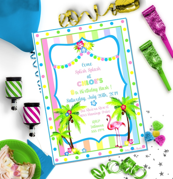 graphic relating to Printable Flamingo Template identified as FLAMINGO Editable INVITATION ~ Editable do-it-yourself Template