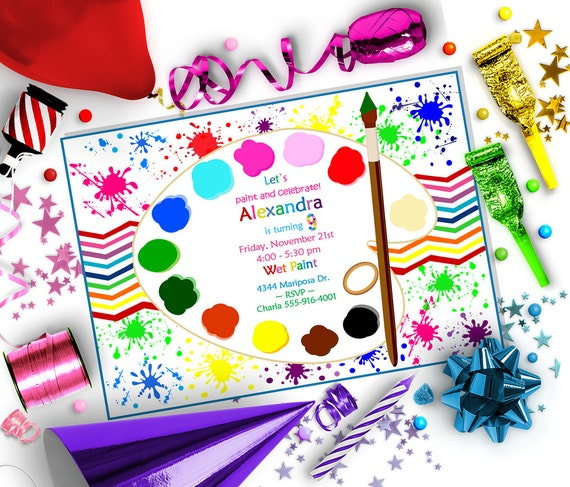 PAINT SPLATTER Party INVITATION - Editable diy Template
