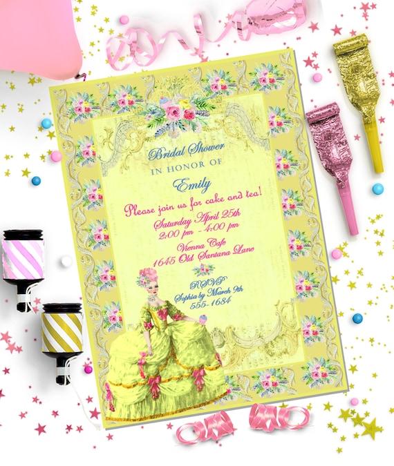MARIE ANTOINETTE ~ Golden Bridal Editable INVITATION ~ Editable diy Template ~ Printable Instant Download