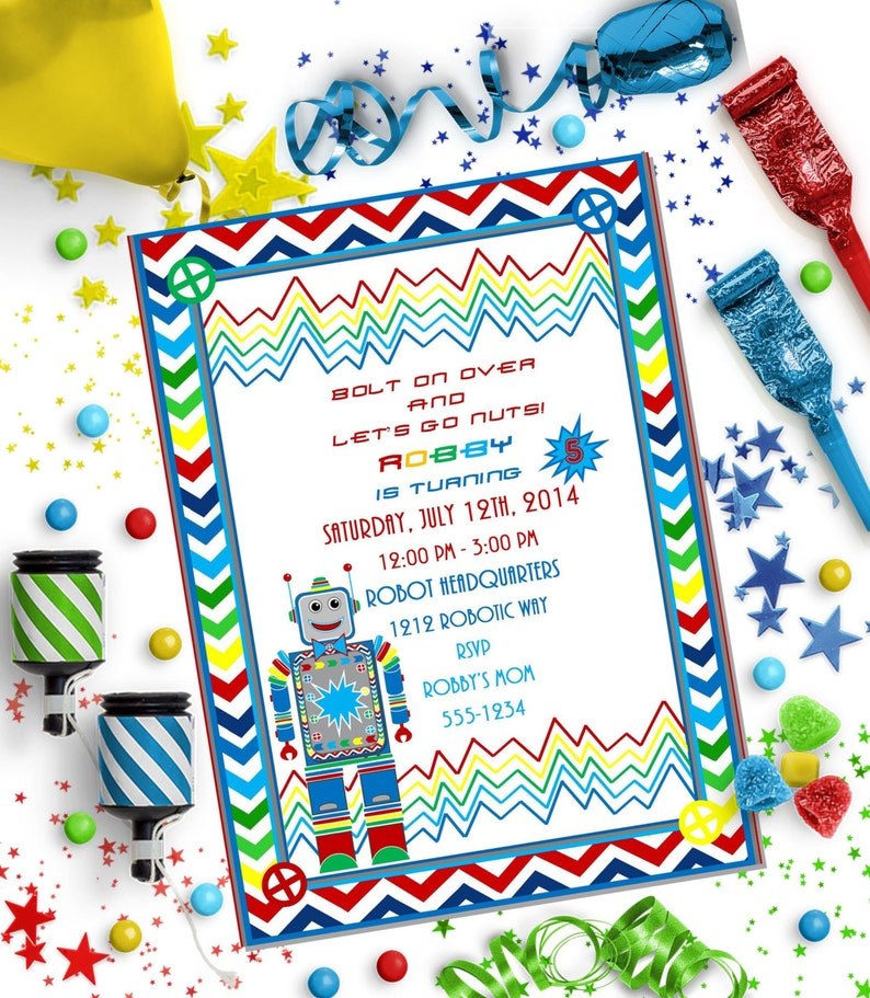 ROBOT Party Food Cards ~ Personalized Printable Download
