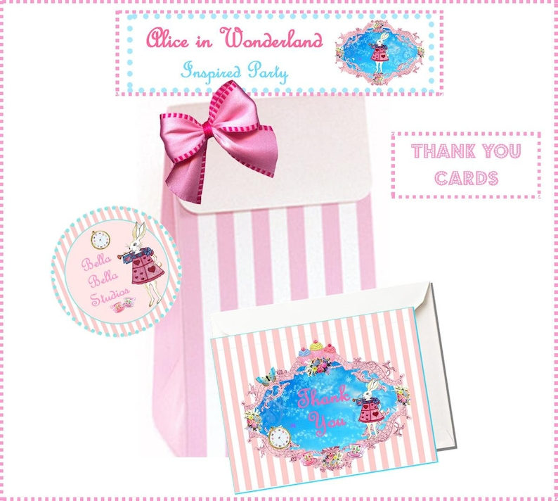 Alice in Wonderland THANK YOU CARDS ~ Printable Instant Download
