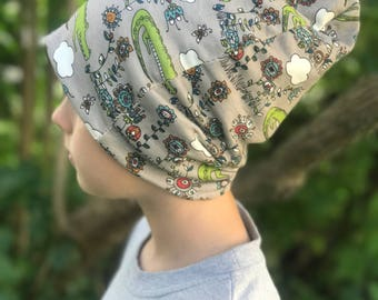 Beanie Hat for Kids - 5T-6T Organic Cotton Reversible Alligator Toque Reversible