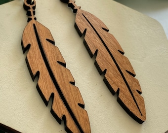 Cherry Wood Dangle Earrings - Bees - Feathers - Honeycomb - Butterflies