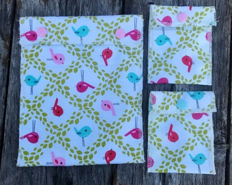 Snack Bags 3 Pack Birds - Freshly Hatched Set of 3 Sandwich Bags