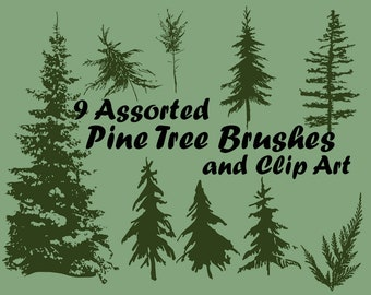 9 Assorted Pine Tree Photoshop Brushes (.ABR) and Clip Art Files (.PNG)