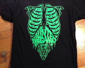 HAUNTED ORGANS skeleton tee 100% american made ringspun cotton bayside 5000 fluorescent ink