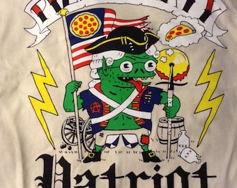 new PIZZA PARTY PATRIOT pizza trollz tee shirt natural crust