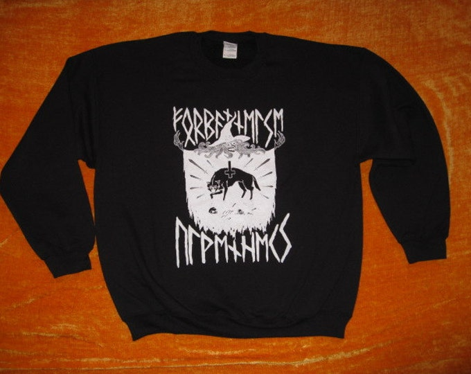 wolf witch rune CREW NECK SWEATSHIRT 50/50 blend
