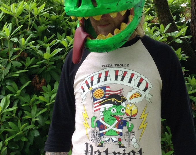 new hand dyed PIZZA PARTY PATRIOT pizza trollz Baseball Tee natural crust