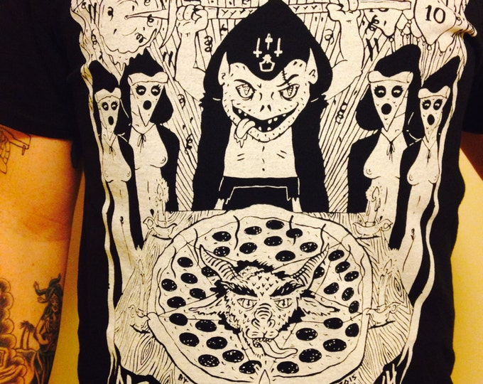occult PIZZA TROLLZ tee from my page in the NIGHTWATCH zine #10!