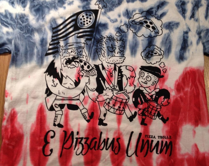 Limited edition FLAG TIE DYE pizza trollz e pizzabus unum spirit of 76 on gildan heavy cotton
