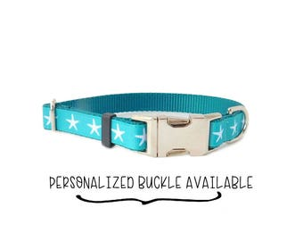 "3/4"" Starfish dog collar in Turquoise Aquamarine Colors, Personalized Dog Collar Available"