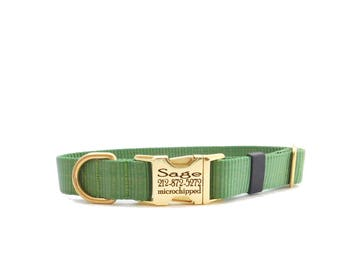 Sage Personalized Dog Collar Pet ID Metal Buckle, Green Dog Collar, Limited Supplies, Laser Engraved Buckle