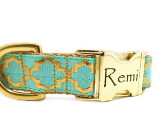 "1"" Wide Personalizedd Dog Collar in Gold Print, Moroccan Quatrefoil, Metal Buckle Pet ID, Fancy Dog Collar,  Holiday Gift Ideas"