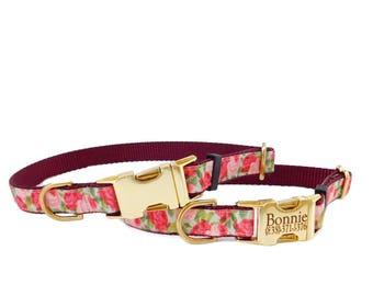 Rose Dog Collar, Personalized Dog Collar, Metal Buckle Pet ID Collar, Floral Print, Engraved Dog Collar