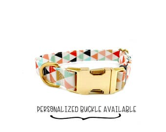 Geometric Dog Collar, Personalized Buckle with Metal Buckle Pet ID, Adjustable Dog Collar,