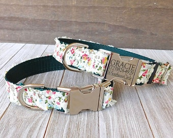 Dog Collar Floral Ruffles, Personalized Pet ID Laser Engraved Dog Collar
