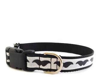 Mustache Dog Collar, Black White Collar, Plastic Buckle Closure, Trendy Moustache Collar, Style 318,