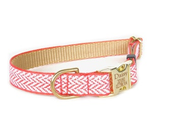 Herringbone Dog Collar, Pet ID Metal Buckle Personalized Pet ID Laser Engraved Dog Collar, Coral Chevron