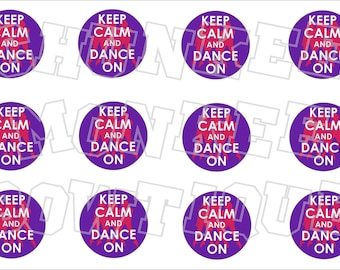 Keep Calm and Dance On bottlecap image sheet - purple