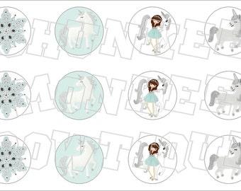 Made to Match Gymboree M2MG Snowflake Unicorn bottlecap image sheet