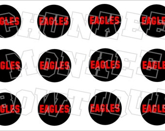 EAGLES red on black background -  high school mascot