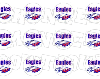 Eagles red white blue bottlecap image sheet -  high school mascot