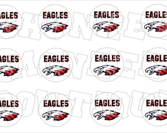 Eagles red and black bottlecap image sheet -  high school mascot