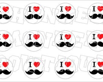 I Love Mustaches bottlecap image sheet