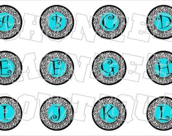 Zebra and turquoise alphabet bottlecap image sheet