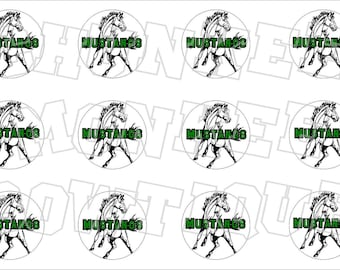 Mustang with green writing bottlecap image sheet - school mascot