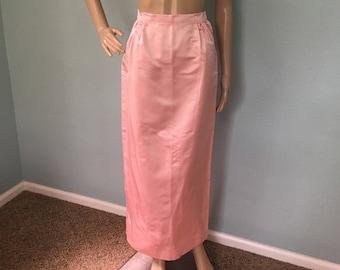 1960s Pink Lady Full-Length Satin Skirt