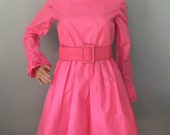 628f686a00 Oscar De La Renta Vintage Hot Pink Taffeta Cocktail Dress